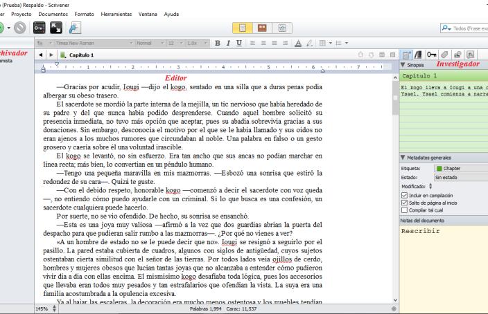 Scrivener: Archivador, Editor e Inspector